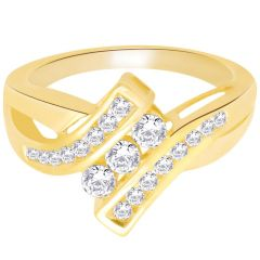 Hoop Silver With Cz Diamond Gold Plated Ring For Womens Rf4271