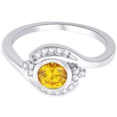 Hoop Silver With Cz Diamond Yellow Ring For Womens Rf8962