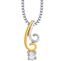 Hoop Silver  Cz Diamond Silver Pendant For Women Pf4657