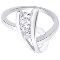 Hoop Silver With Cz Diamond Silver Ring For Womens Rf4649