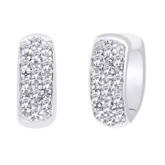 Hoop Silver With Cz Diamond Silver Earring For Womens Ef8852