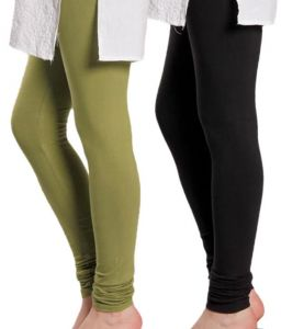 Cotton Lycra Legging For Girls/woman - Set Of 2 - Black & Mehandi Green