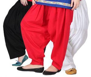 """Rakshita""""s Collection Set Of 3 Cotton Patiyala Salwar-(black And White And Red)"""