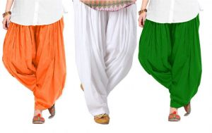 "Women's Clothing - Rakshita""s Collection Set Of 3 Cotton Patiyala Salwar-(white And Yello And Skyblue)"