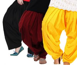 "Rakshita""s Collection Set Of 3 Cotton Patiyala Salwar-(black And Yloo And Maroon)"