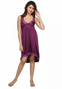 Moksh Purple Satin Lycra Night Dress 7013