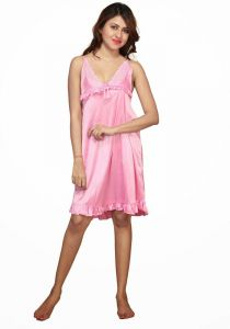 Moksh Pink Satin Lycra Night Dress 7021
