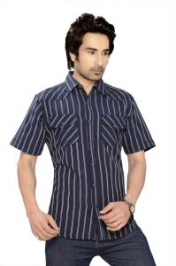 Moksh Striped Casual Cotton Shirt For Mens - (code - I0414ms01ss)