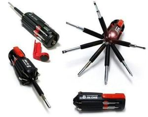 8 In 1 Multi Screwdriver LED Torch Portable Screw Driver Toolkit Set