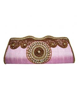 Moksh Pink Silk Clutch For Womens - (code - M737_pk300)