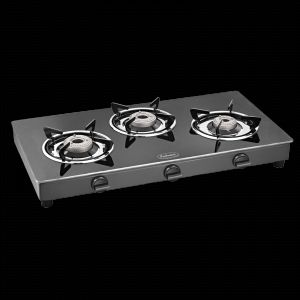 Burners - Padmini 3 Burner Gas Stove - Cs 3Gt Cloud Crystal Black