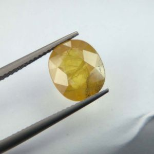 Lab Certified Top Grade 3.86cts Natural Yellow Sapphire/pukhraj