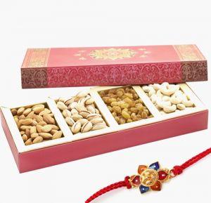 Rakhi Dry Fruits (India) - Punjabi Ghasitaram 2017 Rakhi Special Assorted Dryfruits Pink Fancy Box With Rakhi