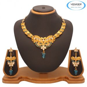 Vendee Fashion Sky Blue Kundan Nacklace Jewelry 7202