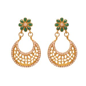 Vendee Fashion Green Floral Earrings 8074b