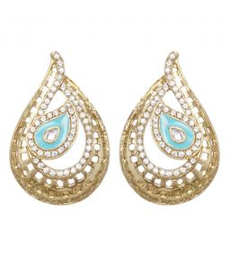Vendee Fashion Jaali Pattern Drop Earrings (8209)