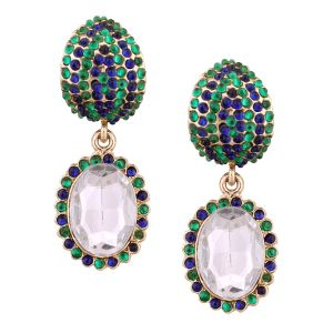 Vendee Fashion Festive Earrings Adorned With Green & Blue Diamonds (8394a)