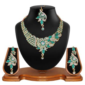 Vendee Fashion Antique Delicate Blue Necklace Set