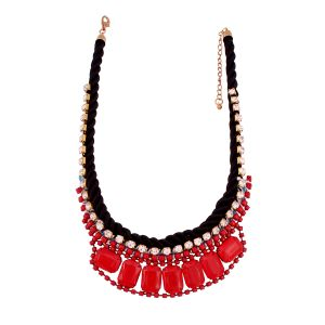Vendee Fashion Jewellery - Vendee Fashion red fashionable beaded Statement necklace (8585)