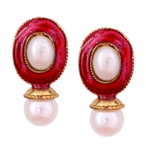 Vendee Fashion Dark Pink Kundan Studded Earrings