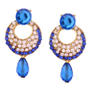 Vendee Fashion Royal Blue Stone Studded Chandbali Earrings