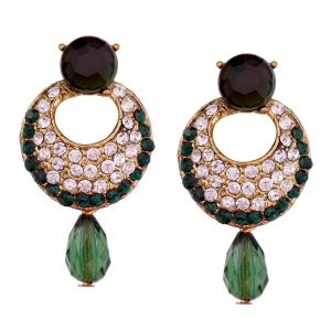 Vendee Fashion Dark Green Stone Studded Chandbali Earrings
