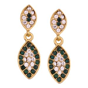 Vendee Fashion Leafy Design Green Earrings