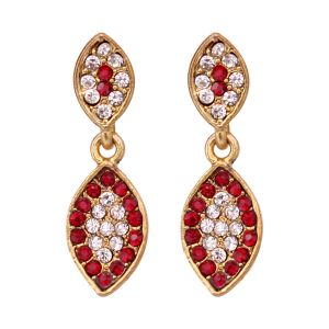 Vendee Fashion Leafy Design Maroon Earrings