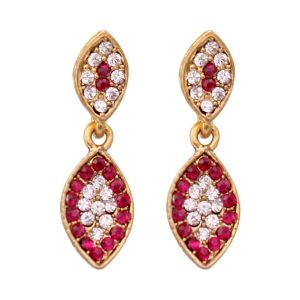 Vendee Fashion Leafy Design Pink Earrings