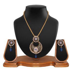 Pendants (Imitation) - Exclusive Designer Round Shape Filigree Blue Alloy Pendant set 8660