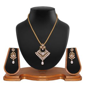 Traditional Designer Square Shape Filigree White Alloy Pendant Set 8664