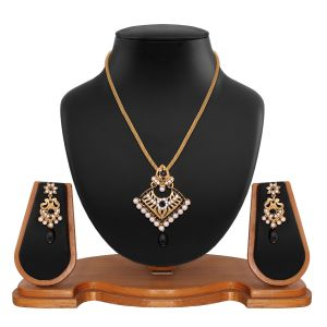 Traditional Designer Square Shape Filigree Black Alloy Pendant Set 8664a