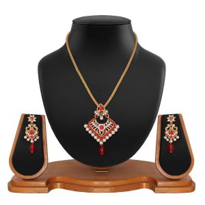 Traditional Designer Square Shape Filigree Red Alloy Pendant Set 8664b