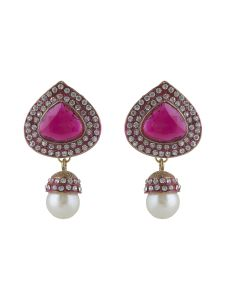 Vendee Fashion Australian And High Gold Earrings With Maroon Chaton Stone And Pearl Drops Earring