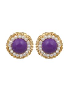Vendee Fashion Ethnic Purple & White Colour Earrings