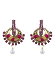 Vendee Fashion Pink & White Designer Drop Earring