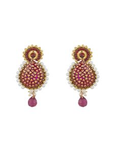 Vendee Fashion Pink & White Drop Shape Earring