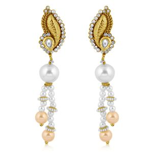 Vendee Fashion White Pearl Ethnic Long Earrings