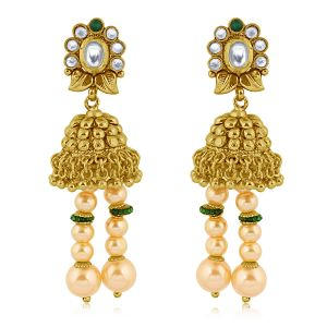 Vendee Fashion Pearl Ethnic Long Earrings