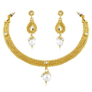 Vendee Fashion Plain Gold Plated Necklace Set