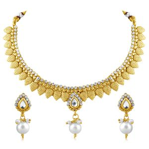 Vendee Fashion Mango Shaped Gold Plated Necklace Set For Women