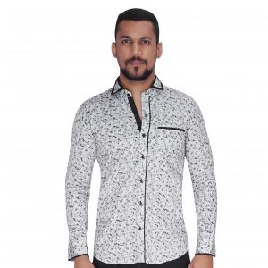 Disperse Print Grey With Flower Print Shirt By Corporate Club (code - Cc - Pp93 - 01)