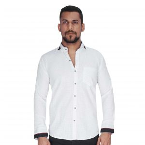 Dobby Weave White With Navy Print Dotshirt By Corporate Club (code - Cc - Pp107 - 04)
