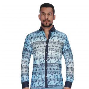 Casual Shirts (Men's) - Panel Print Design in Sky Blue & Navy Color Shirt By Corporate Club (Code - CC - PP453 - 07)