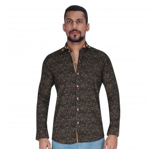 Black With Golden Print Shirt By Corporate Club (code - Cc - Pp46 - 01)