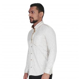 White With Brown Print Shirt By Corporate Club (code - Cc - Pp121 - 04)