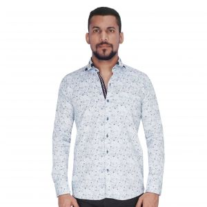 Casual Shirts (Men's) - White with Navy Grey Print Shirt By Corporate Club (Code - CC - PP46 - 07)