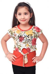 Girls - Semi Party Wear Western Sleevesless Top with Separate Half Sleeves Crop Top for Kids - Red by Triki (Code - 671 RED)