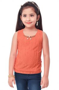 Girls - Semi Party Wear Western Top with Separate Sleeves for Kids - Rust by Triki (Code - 693 RUST)