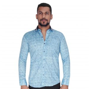 Sky Blue With Black & White Random Print Shirt By Corporate Club (code - Cc - Pp137 - 04)